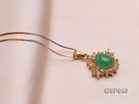 15mm Green Jade Cabochon Pendant with Zircon