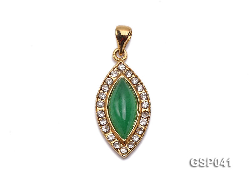 12x22mm Green Marquise Jade Cabochon Pendant with Zircon