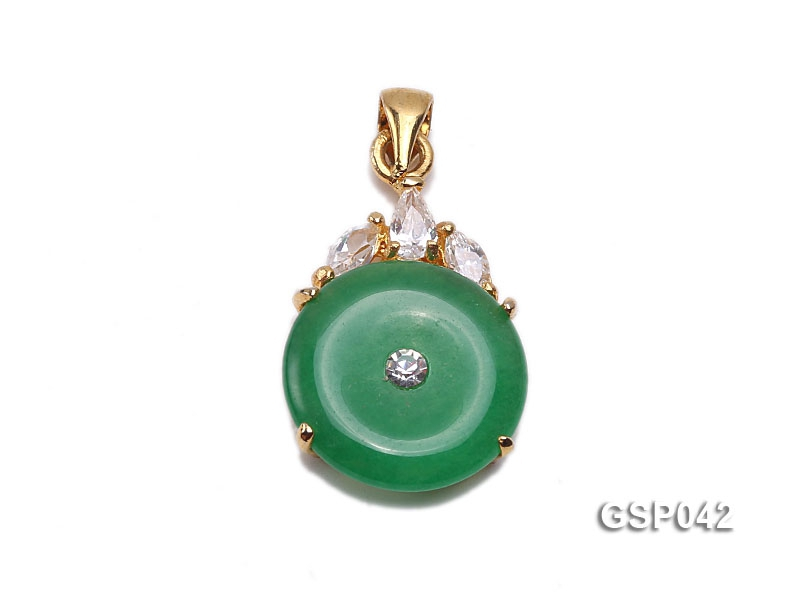15x20mm Round Disc-Shaped Green Jade Pendant
