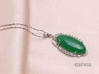 20x36mm Green Jade Cabochon Pendant with Zircon