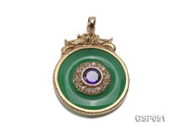 32mm Round Green Disc-Shaped Jade Pendant
