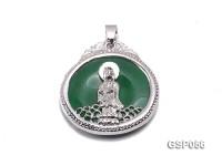 32mm Round Green KwanYin Jade Pendant