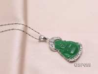 22x34mm Carved Green Buddha-Shaped Green Jade Pendant