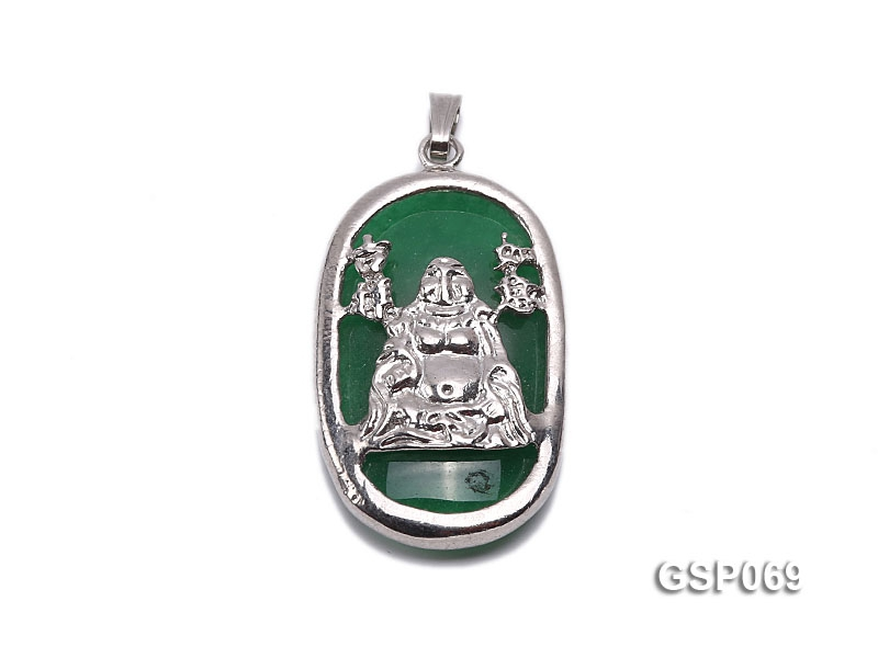 18x30mm Green Buddha-Head Jade Pendant