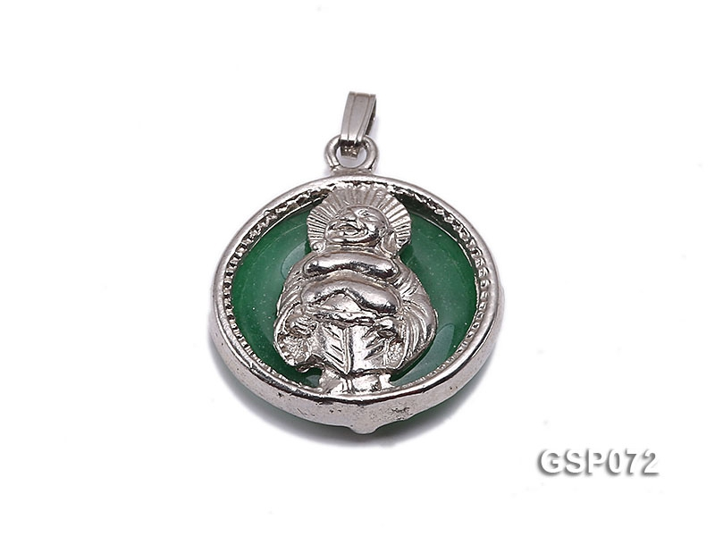 22mm Round Green Buddha-Head Jade Pendant