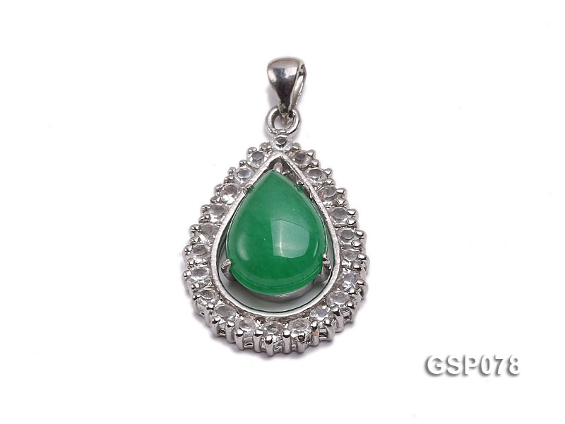 18x24mm Green Jade Cabochon Pendant with Zircon