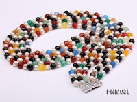 5 strand white freshwater pearl and colorful agate necklace