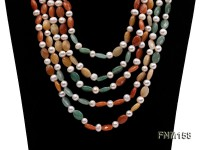 5 strand white freshwater pearl and jade necklace