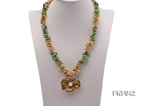 Two-strand Yellow and Green Freshwater Pearl Necklace with a Gilded Metal Flower Pendant