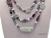 7-9mm multicolor flat pearl and jade and agate necklace