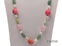 6-7mm white baroque freshwater pearl and red round coral and jade opera necklace