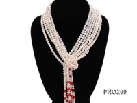 5-6mm white round freshwater pearl and red coral flower five strands necklace