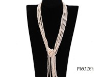 5-6mm white round freshwater pearl five-strand necklace