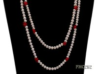 6-7mm white round  freshwater pearl and red coral flower necklace