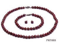 6-7mm Aubergine Freshwater Pearl Necklace, Bracelet and Earrings Set