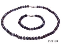 6-7mm Dark-purple Freshwater Pearl Necklace and Bracelet Set