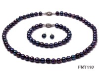 7-8mm Dark-purple Freshwater Pearl Necklace, Bracelet and Earrings Set