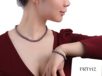 7-8mm Dark-purple Freshwater Pearl Necklace and Bracelet Set