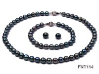 8-8.5mm Black Freshwater Pearl Necklace, Bracelet and Earrings Set