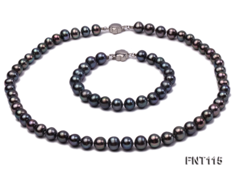 8-9mm Black Freshwater Pearl Necklace and Bracelet Set