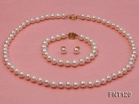 7-8mm White Freshwater Pearl Necklace, Bracelet and Stud Earrings Set