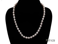 7.5x9mm White Freshwater Pearl Necklace, Bracelet and Stud Earrings Set