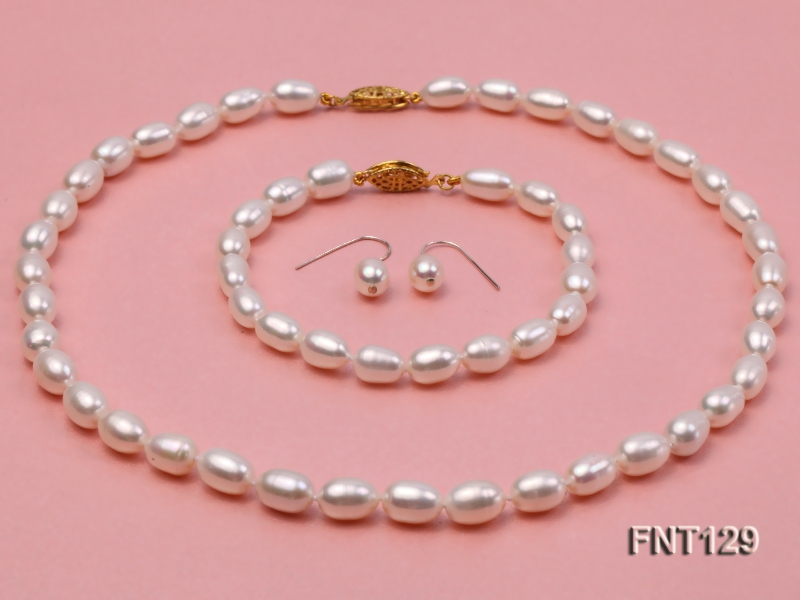 7x8mm White Freshwater Pearl Necklace, Bracelet and Stud Earrings Set