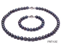 6-7mm Black Freshwater Pearl Necklace and Bracelet Set