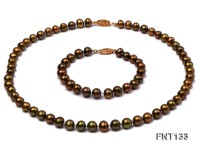 7-7.5mm Brown Freshwater Pearl Necklace and Bracelet Set