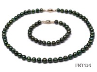 6-7mm Peacock Green Freshwater Pearl Necklace and Bracelet Set