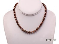6-7mm Coffee Freshwater Pearl Necklace and Bracelet Set