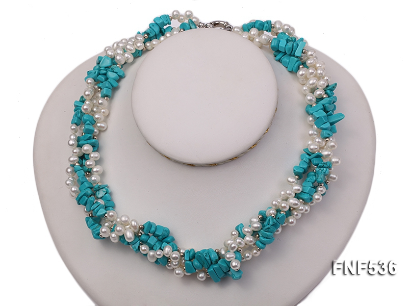 Four-strand White Freshwater Pearl and Turquoise Chips Necklace