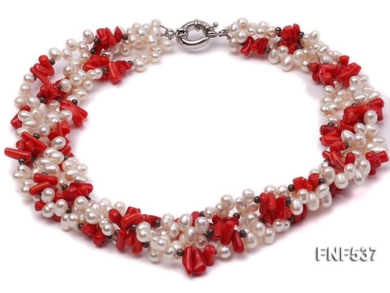 Four-strand 5-6mm White Freshwater Pearl and Red Coral Chips Necklace