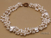 Three-strand 4-5mm Freshwater Pearl, Button Pearl and White Coral Chips Necklace