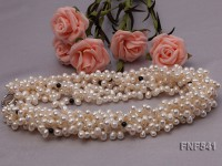 Multi-strand White Freshwater Pearl Necklace Dotted with Black Agate Beads