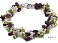 Four-strand White Freshwater Pear, Green Button Pearl and Purple Crystal Beads Necklace