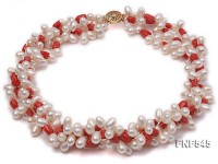 Three-strand 5x8mm Freshwater Pearl and Red Flower-shaped Coral Beads Necklace