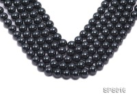Wholesale 12mm Round Black Seashell Pearl String