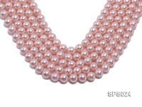 Wholesale 12mm Pink Round Seashell Pearl String