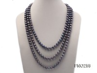 10-10.5mm black round freshwater pearl necklace