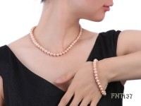 6.5-7.5mm Pink Freshwater Pearl Necklace and Bracelet Set