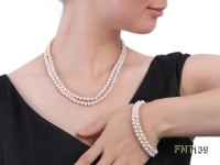 Two-strand 5-6mm White Freshwater Pearl Necklace and Bracelet Set
