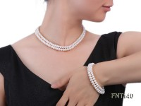 Two-strand 6-7mm White Freshwater Pearl Necklace and Bracelet Set