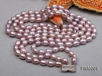 3 strands 7-8mm lavender oval freshwater pearl necklace
