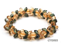 5x7mm Yellow and Green Faceted Crystal Elastic Bracelet