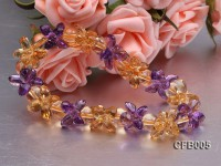 5x7mm Yellow and Purple Faceted Crystal Elastic Bracelet