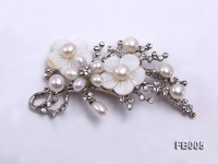 Gold Plated Brooch with Freshwater Pearls, Flower-shaped Seashells and Rhinestone Beads