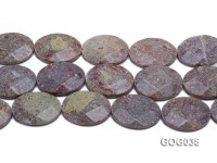 Wholesale 30x40mm Grey Oval Faceted Unakite String
