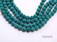 Wholesale 10mm Carved Round Blue Turquoise Beads String