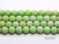 Wholesale 16mm Round Green Carved Turquoise Beads String